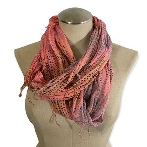 American Eagle Pink Circle Scarf with Fringe Cozy